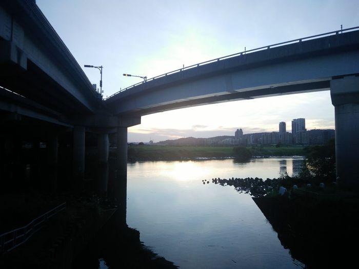 Sunset Sky Bridge River