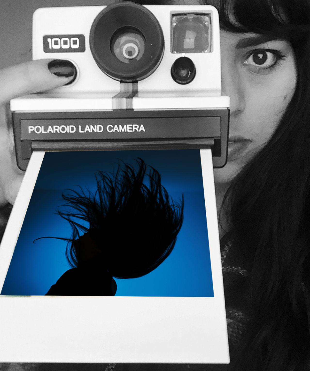 Self Portrait Creative Photography Polaroid Uniqueness Gel Lighting Double Exposure Photoshop Hair Movement Gel Lighting Gels