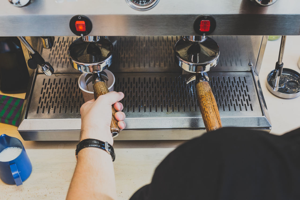 Barista Coffee Coffee Beans Coffee Cup Coffee Handle Coffee Machine Coffee Shop Coffee Shop Scene Drip Coffee Espresso Espresso Machine Espresso Maker Espresso Pour Filter Grey Hot Drink Metal Metal Machine Silver  White White Hands