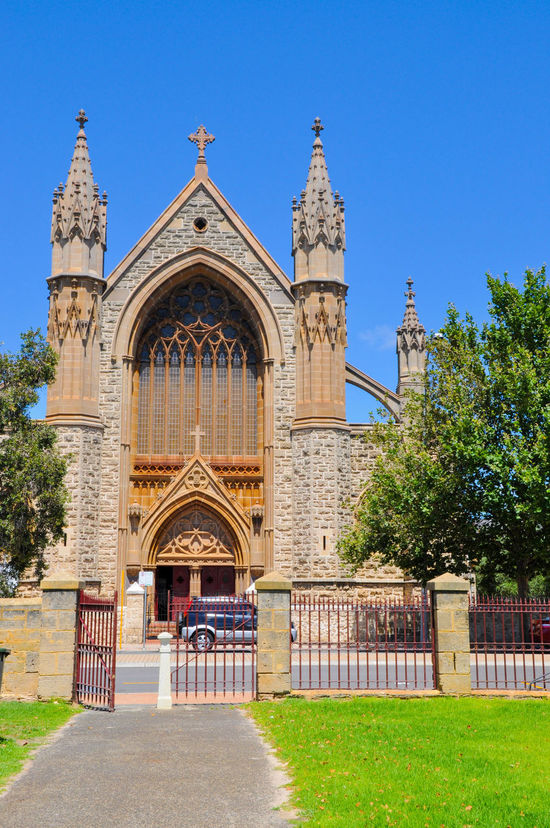 St. Patrick's Basilica entrance with limestone federation gothic architecture in historic Fremantle, Western Australia. Architecture Basilica Brick Building Exterior Buttresses Cathedral Catholic Chapel Church Cross Day Entrance Façade Federation Gothic Fremantle, Western Australia Gothic Historic Limestone Old Ornate Outdoors Place Of Worship Religion Spiritual St. Patrick's Day