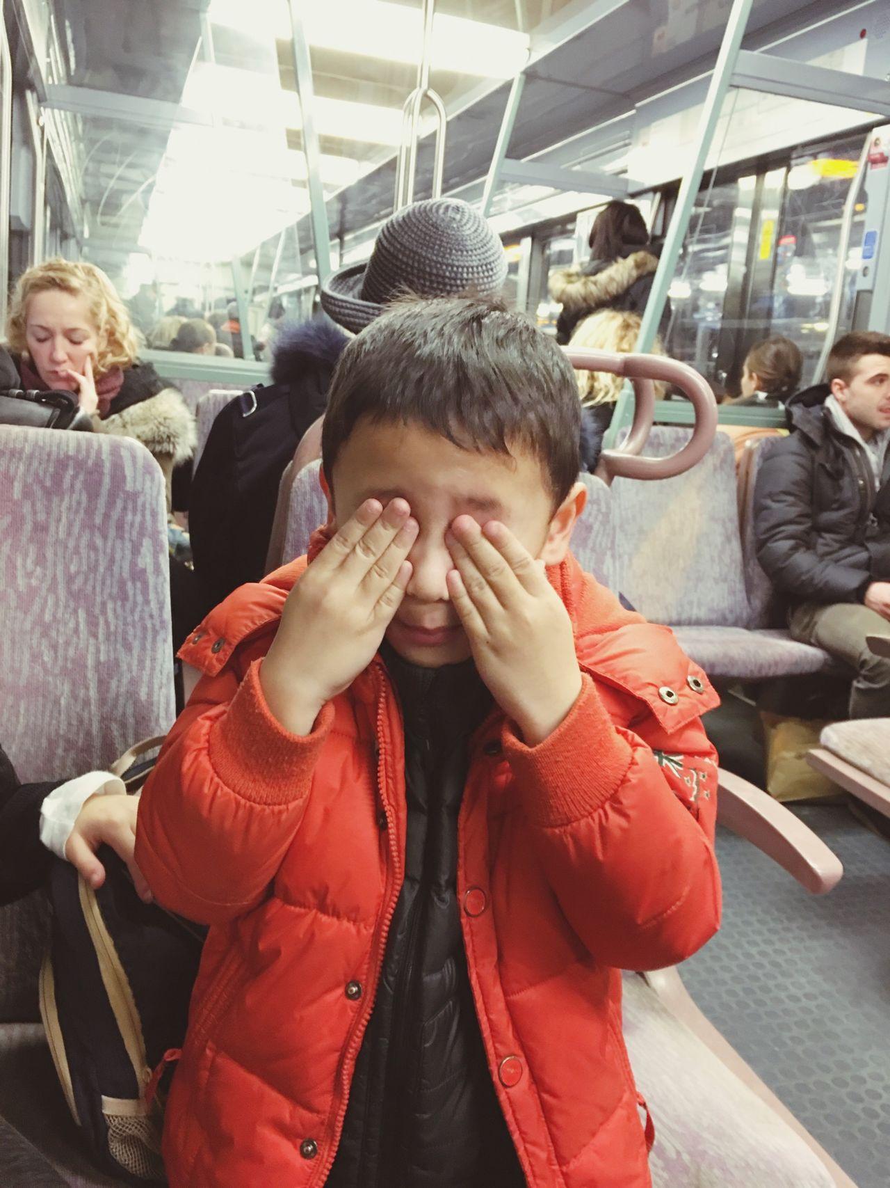 Inside The Metro Boy Hiding Eyes Boy Closing Eyes