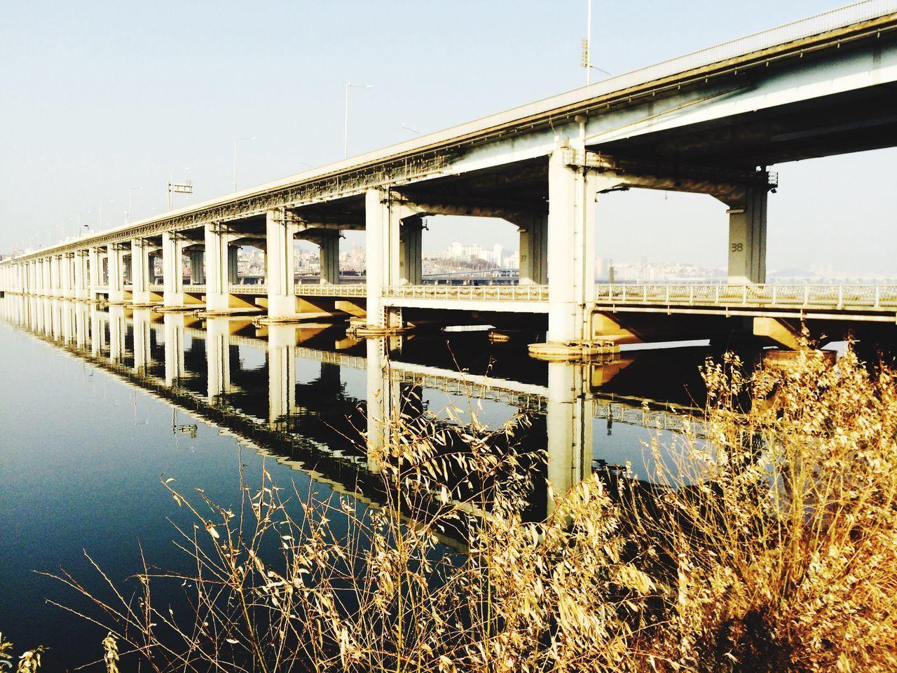 Bridge On River Against Clear Sky