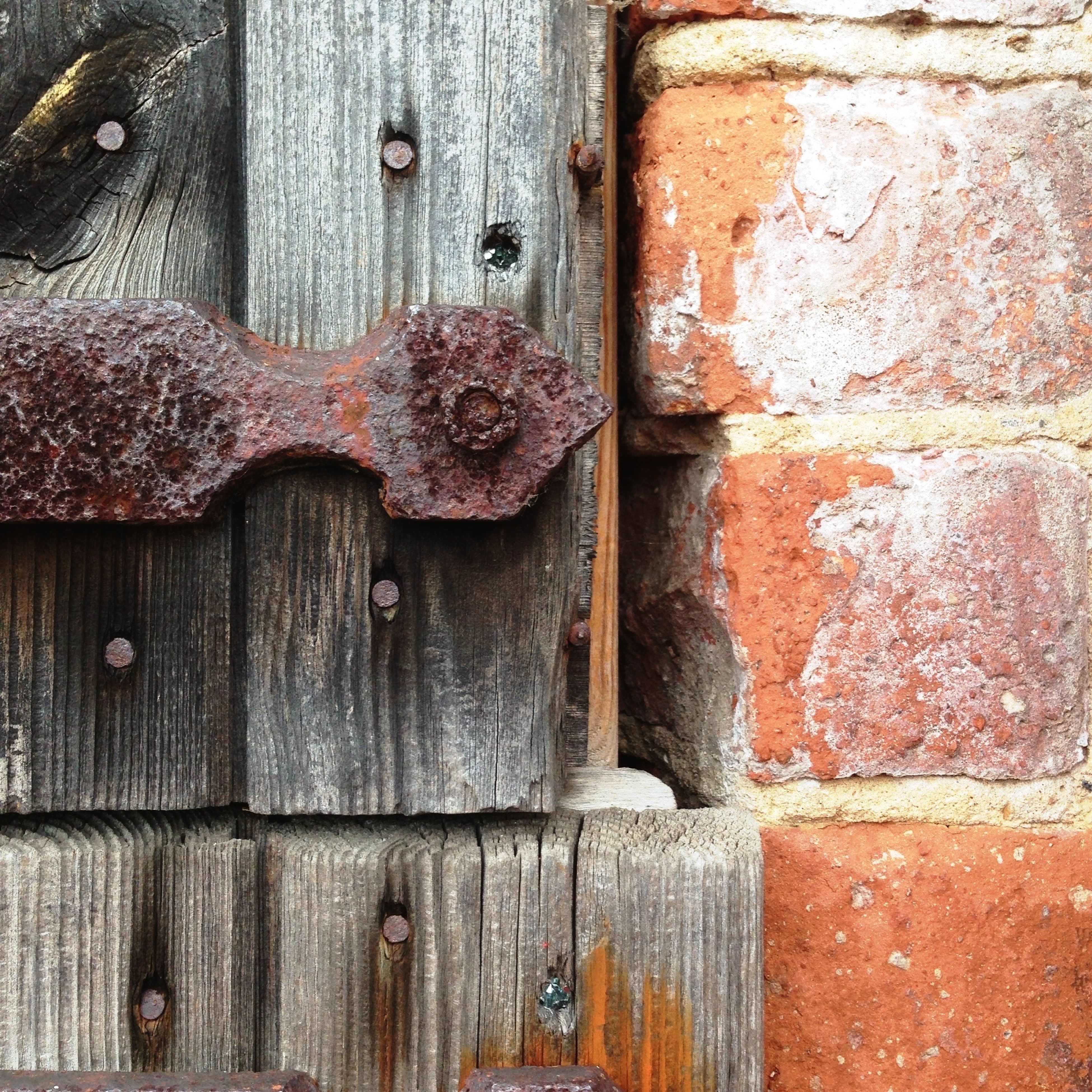 full frame, backgrounds, close-up, wood - material, old, weathered, textured, wooden, protection, closed, security, safety, wood, outdoors, day, no people, deterioration, detail, part of, brown