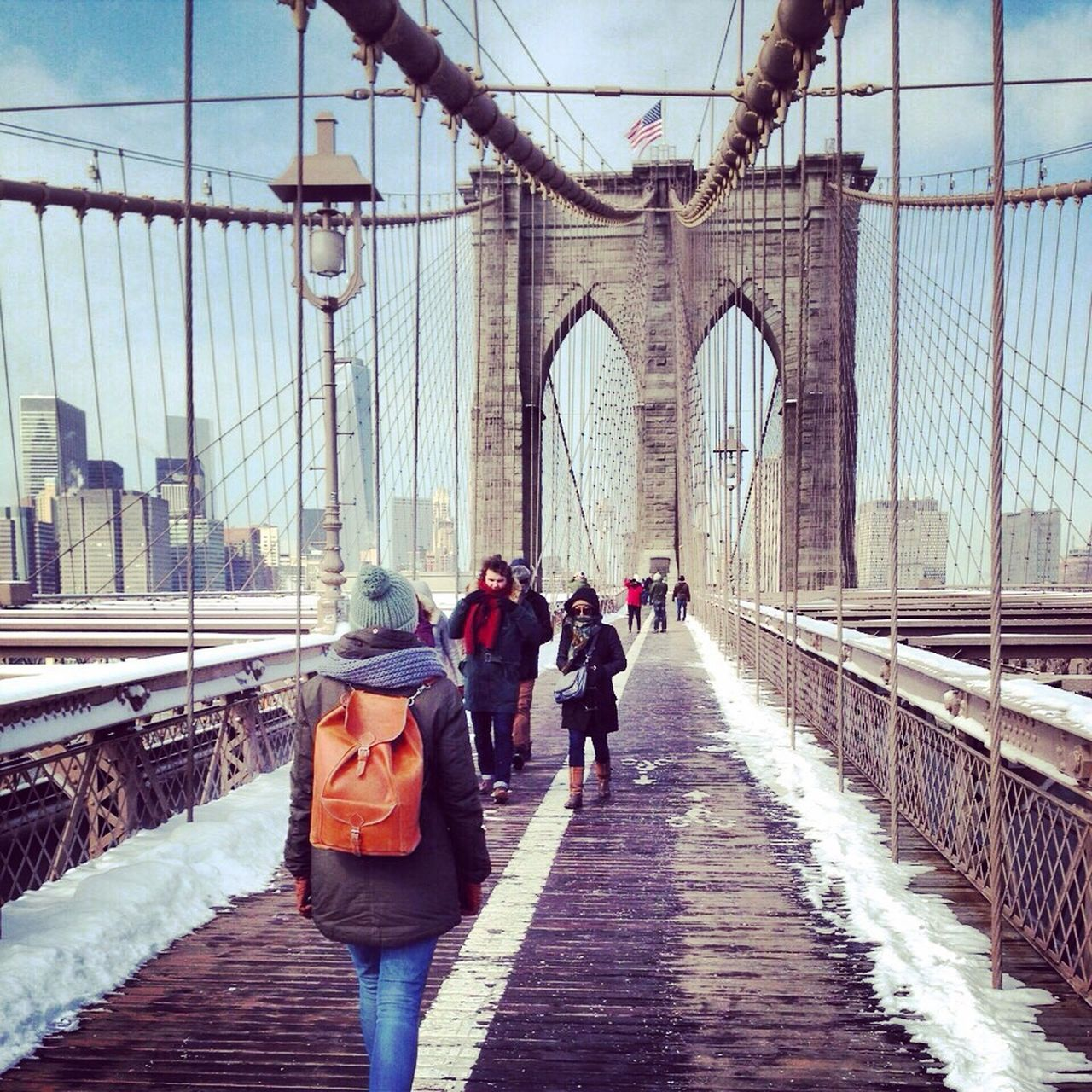 Brooklyn Brooklyn Bridge / New York NYC NYC Photography Manhattan Travel Winter New York City New York Bridge Bridge - Man Made Structure Brooklyn Bridge  Travel Destinations Snow Travel Photography From The Back Blue Sky