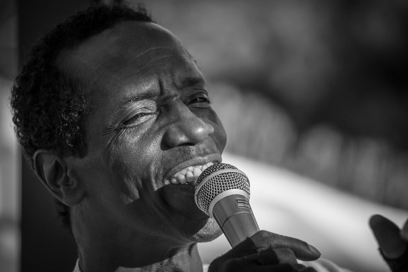 Black And White Black People Charles Role Concert Live Live Music Mallorca Microphone Musician One Person Peguera Performance Real People Singer  Singer  Singing