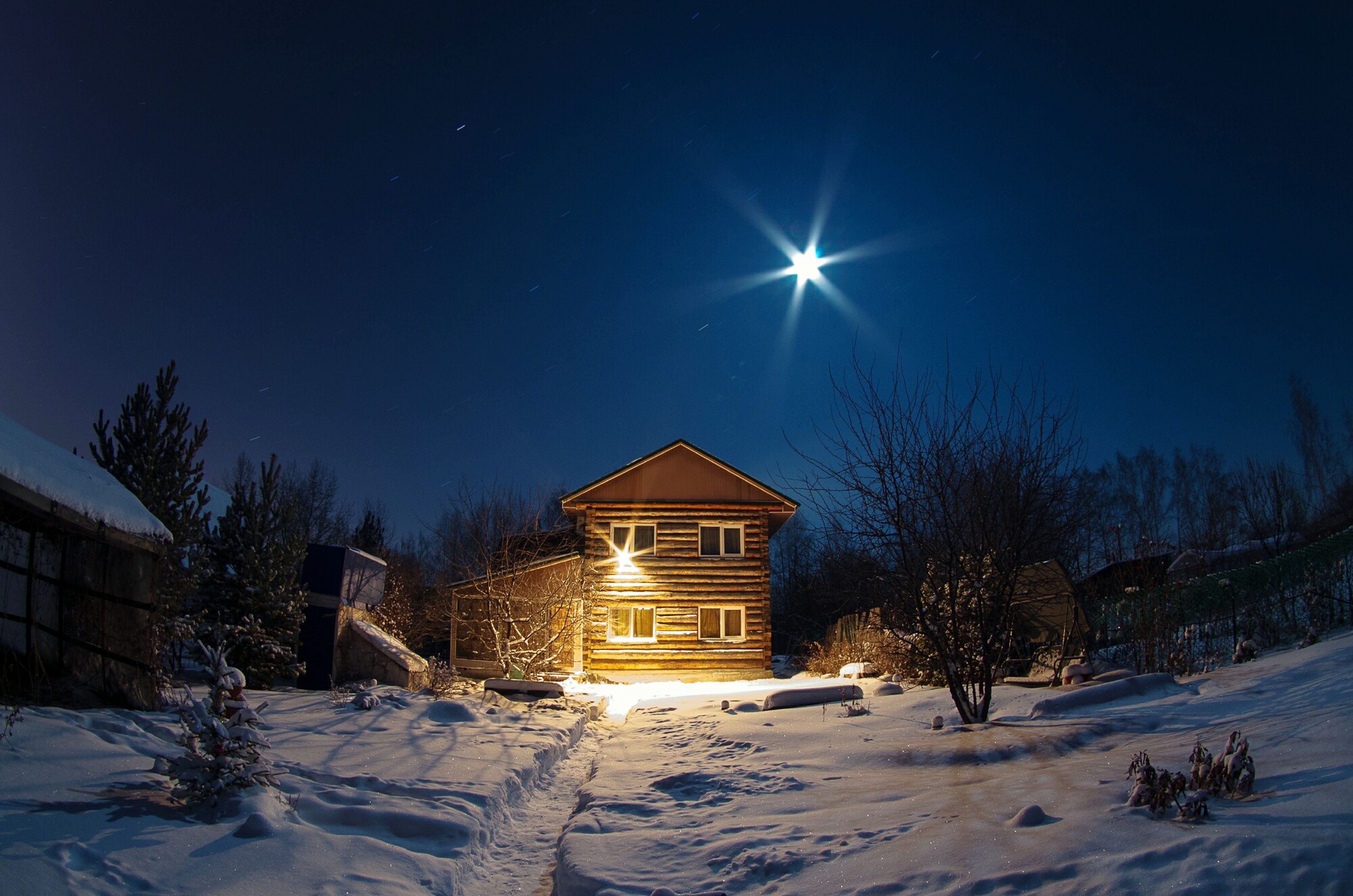snow, winter, cold temperature, building exterior, built structure, architecture, season, house, tree, clear sky, blue, night, weather, sky, nature, illuminated, street light, covering, sunlight, outdoors