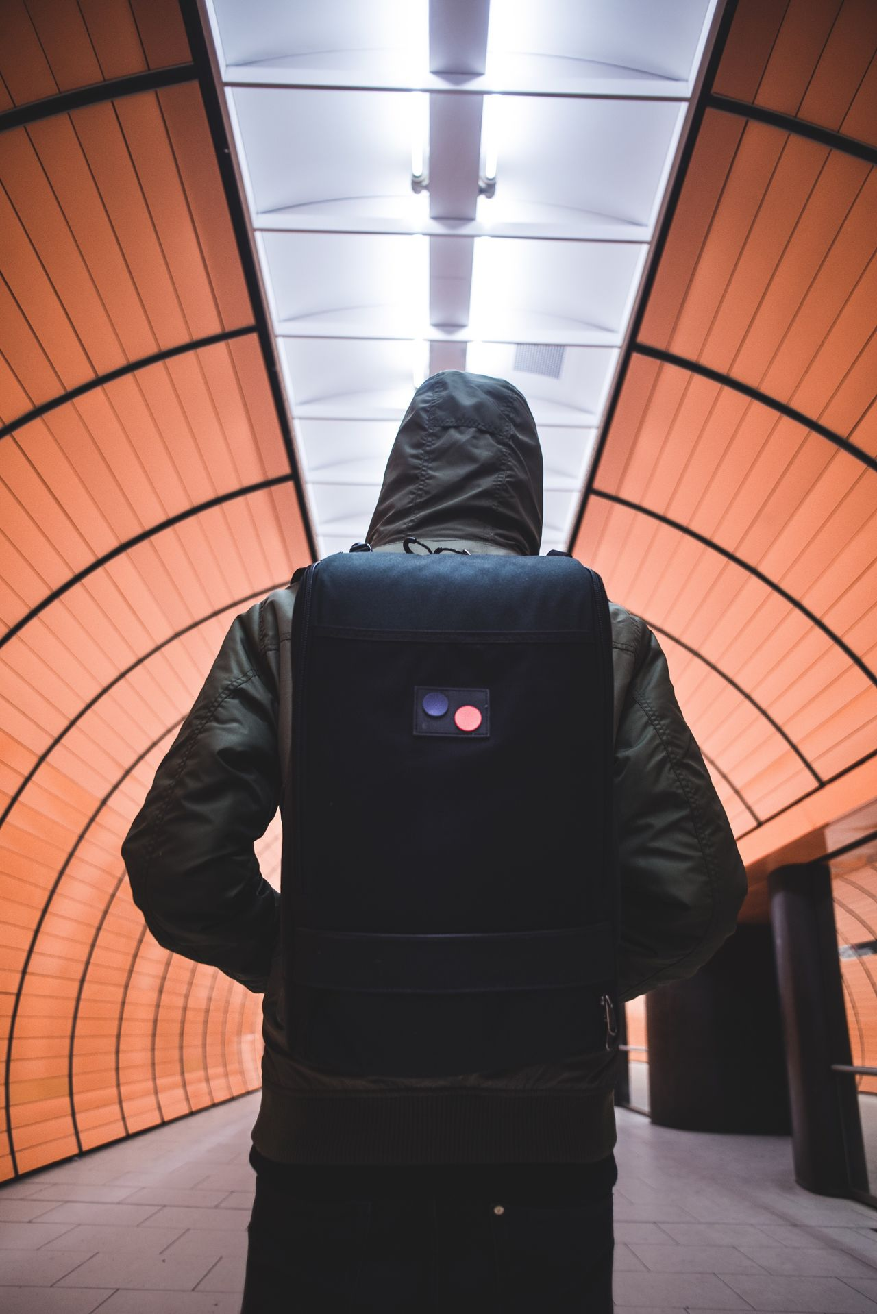 Backpack One Person Standing Lifestyles Indoors  Underground Subway Backpacking Backpack