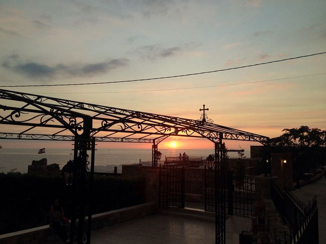 Sunset Man And Nature Power Lines East Mediterranean Mediterranean Sea Byblos Lebanon