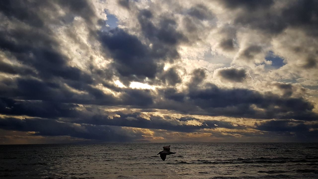 sea, cloud - sky, silhouette, sky, sunset, nature, water, horizon over water, scenics, beauty in nature, tranquility, tranquil scene, outdoors, beach, one person, day, people