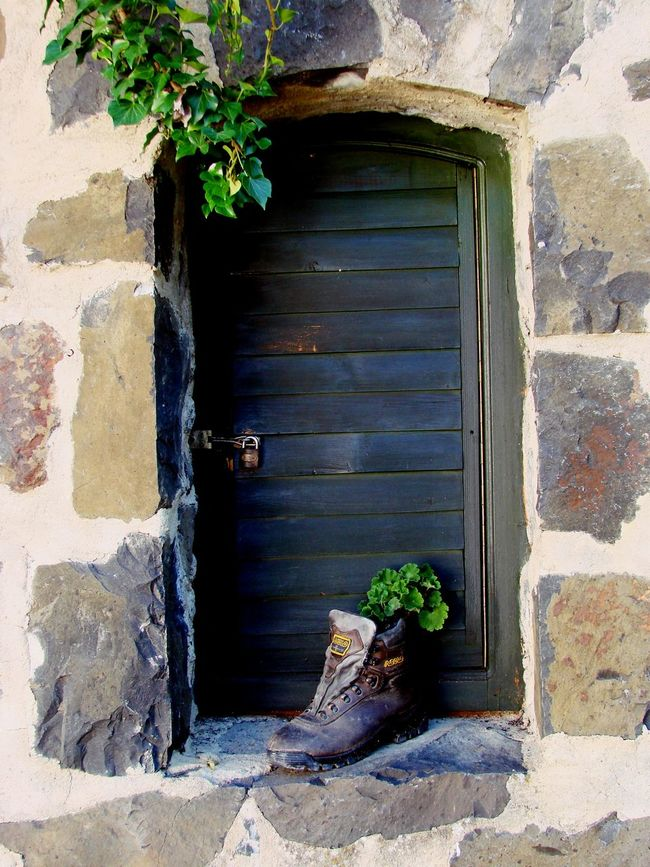 Architecture Built Structure Close-up Closed Closed Window  Day Decoration Deterioration Green Color Growing Growth Nature No People Old Old Shoe Old Shoes Outdoors Plant Rock Rock Formation Shutter Window