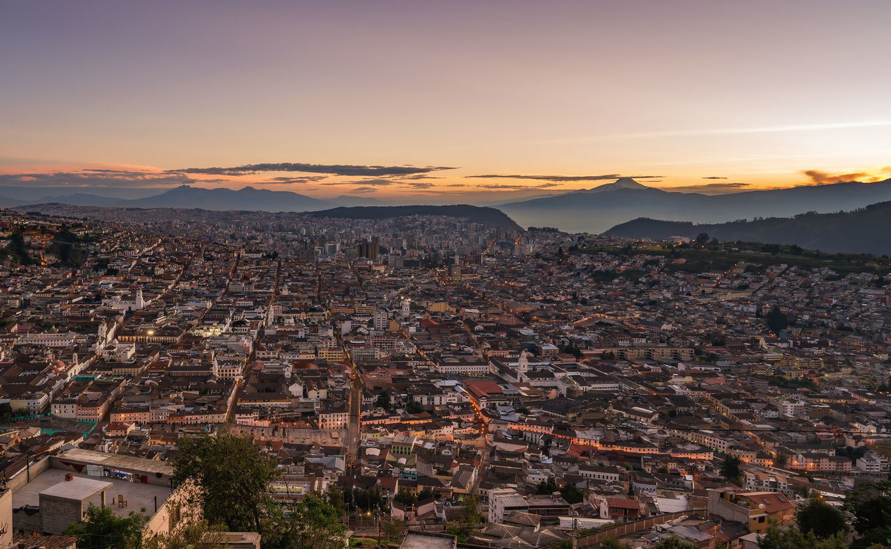 Aerial View Of Quito At Sunset