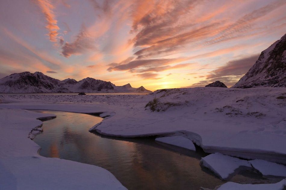 Nature Beauty In Nature Scenics Sky Tranquility Sunset Tranquil Scene Mountain Cold Temperature Cloud - Sky No People Outdoors Snow Water Day Norway Lofoten Islands Haunklandstrand