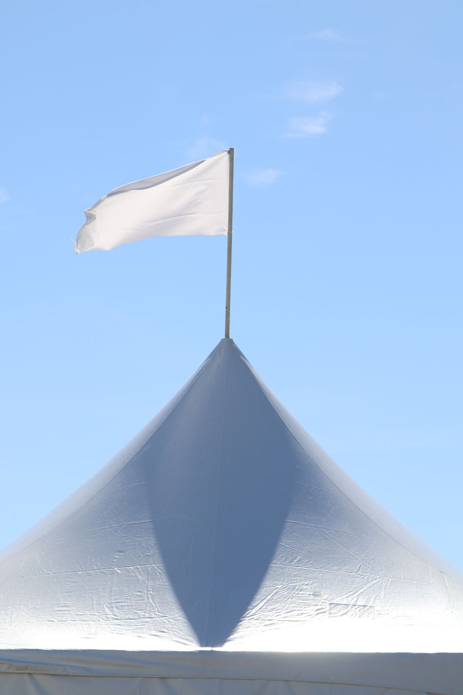 Blue Day Flag In The Wind No People Outdoors Sky Surrender... Tent Tent Top Water