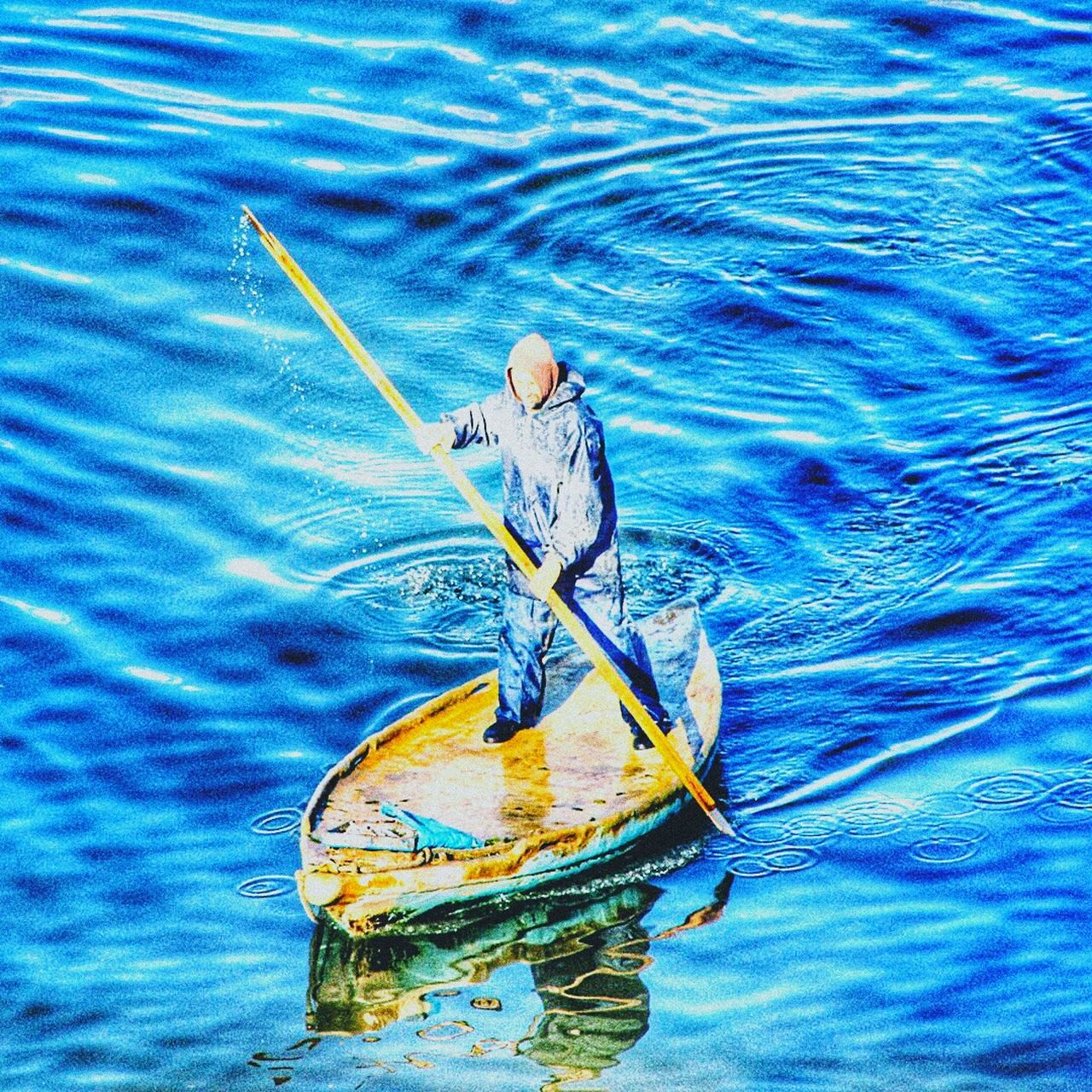water, blue, day, outdoors, nature, one person, animal themes, people