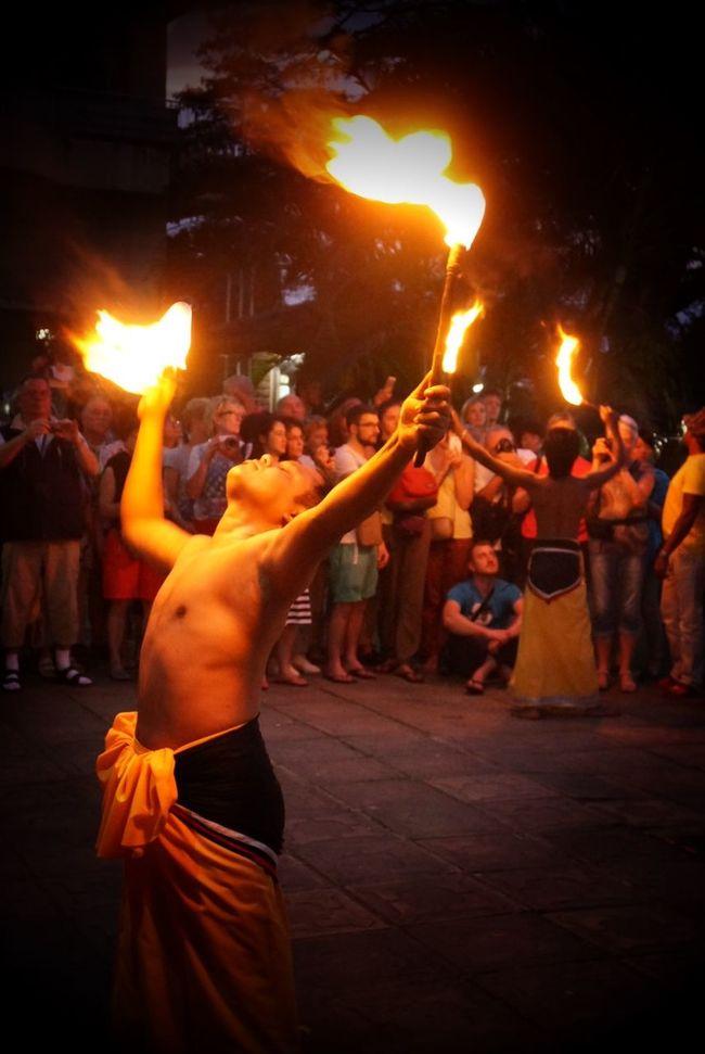 Fire Breather dancers in Kandy. Sri Lanka