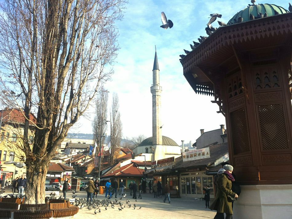 Showcase March Pastel Power Street Bascarsija Bascarsija Square Square Urban On The Move Pigeon Built Structure City Famous Place Mosque Ottoman Architecture in Europe at Sarajevo Bosnia And Herzegovina Here Belongs To Me