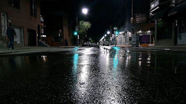 Night Illuminated Road Built Structure Street Building Exterior Wet City Street Light Reflection Water City Street The Way Forward City Life Outdoors Sky Dark LIFEMATES 🐧🐧 City Street Phildelphia Light And Shadow In Center City...South St.