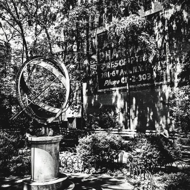 Park City Sphere Sculpture Building Advertisement Old-fashioned Blackandwhite Photography Parklife NYC Photography Garden