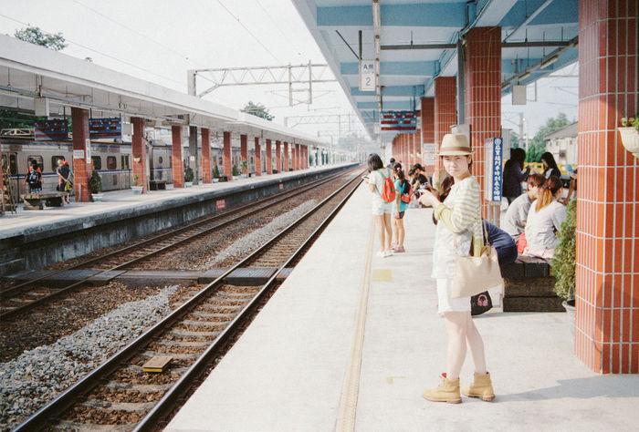 Diminishing Perspective Enjoying Life EyeEm EyeEm Gallery Film Film Photography Filmisnotdead Fm2 Kodak Kodak Portra Portra400 Public Transportation Railroad Track Station Taichung Taiwan Train