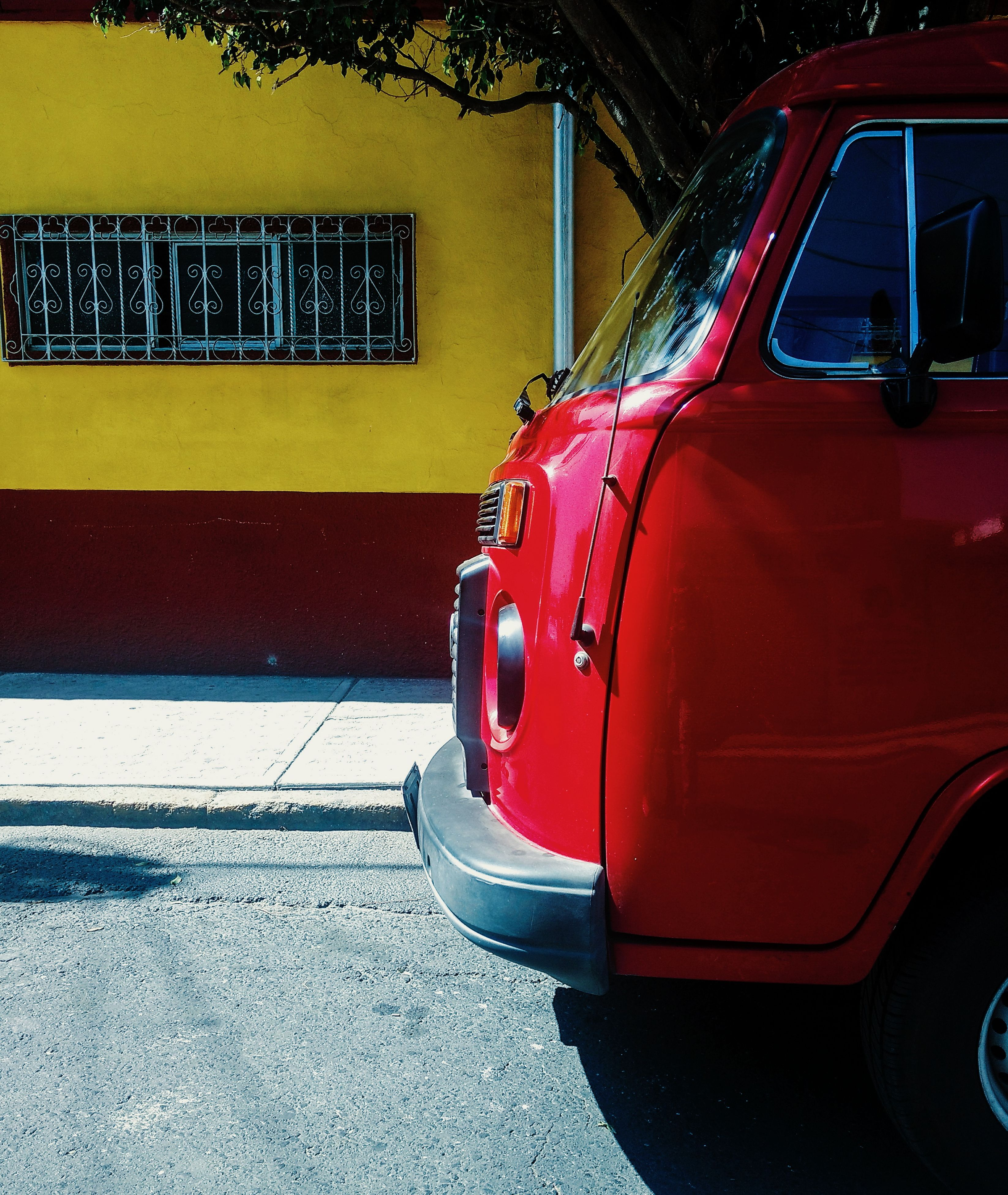 transportation, red, land vehicle, car, mode of transport, yellow, day, outdoors, no people