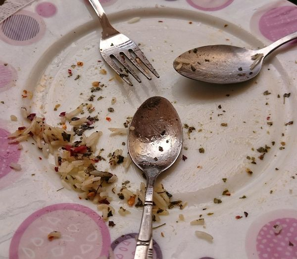 right after lunch Rice And Tuna Lunch Lunchtime Rice Food Two Spoons Fork Plate After Eating Aftereat Aftereating Table Food And Drink Indoors  Food No People Plate Close-up Day