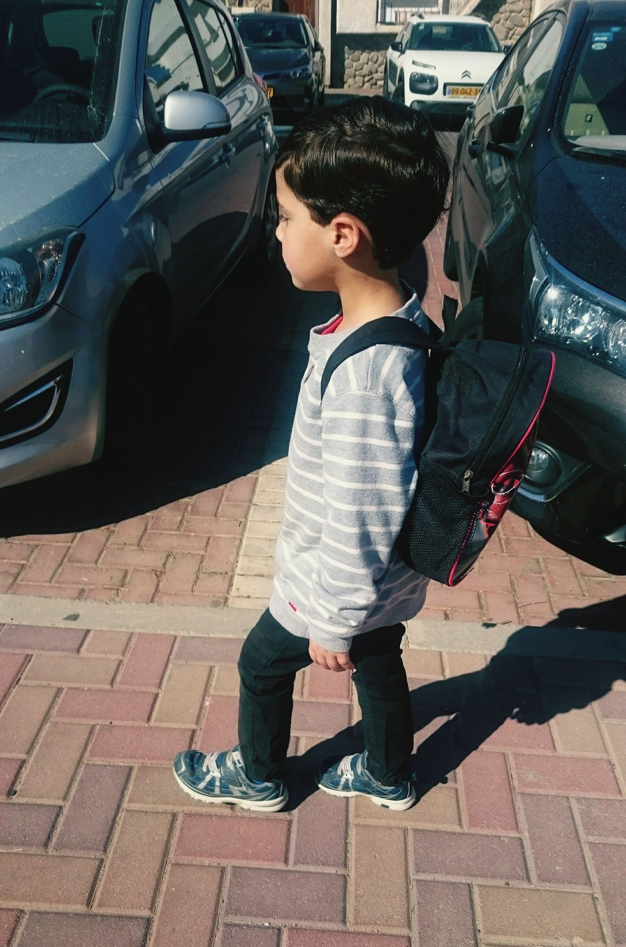 Car One Person Child People Outdoors Childhood Transportation Full Length Day Walk School Boy Going To School