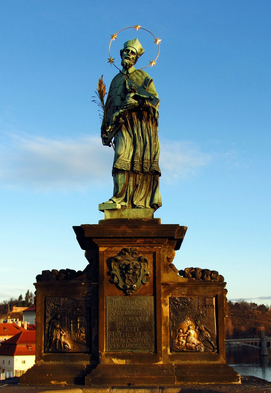 Saint Johannes Nepomuk Saint of Bohemia was thrown in the Vltava River from the Charles Bridge at this point in 1393 by command of King Wenceslas (not the Good King!) Prague Praha Statue History Martyr Colour Of Life