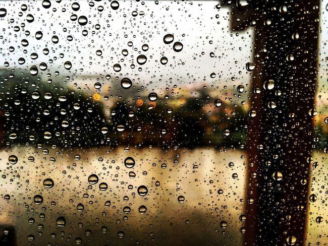 Window Wet Rain Drop Water Transportation Indoors  Season  RainDrop Illuminated Transparent Glass - Material Mode Of Transport Full Frame Sky Rainy Focus On Foreground City Life
