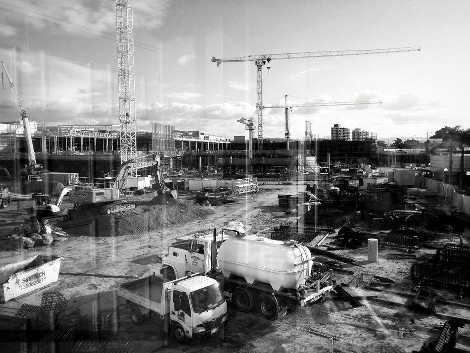 Construction Construction Site Growing Better Blackandwhite Monochrome Light And Shadow Urbanphotography Urbanexploration Taking Photos Through The Window