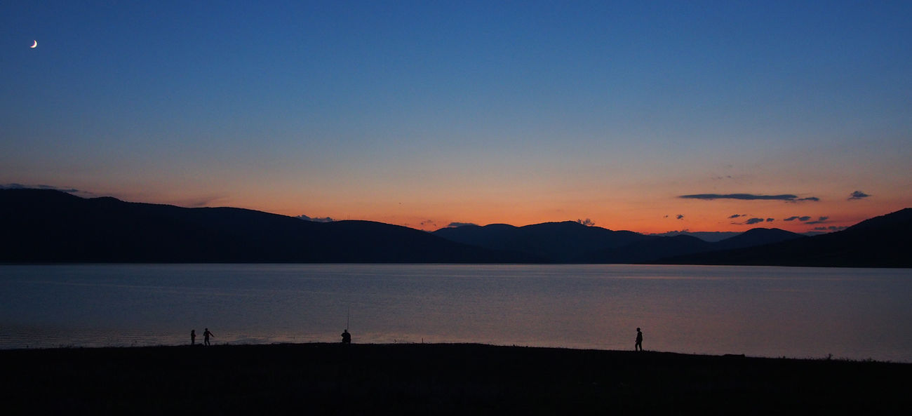 Perfect evening Georgia Lake Landscape Moon Nature Orange Sky Sunset Panoramic Photography People Sunset Water Miles Away