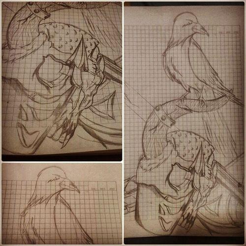 MyDrawing Tatuaje Tatuajes Tattooadict tattoos tattooworld crow odincrow tattoodesing pencil skull sketch drawing
