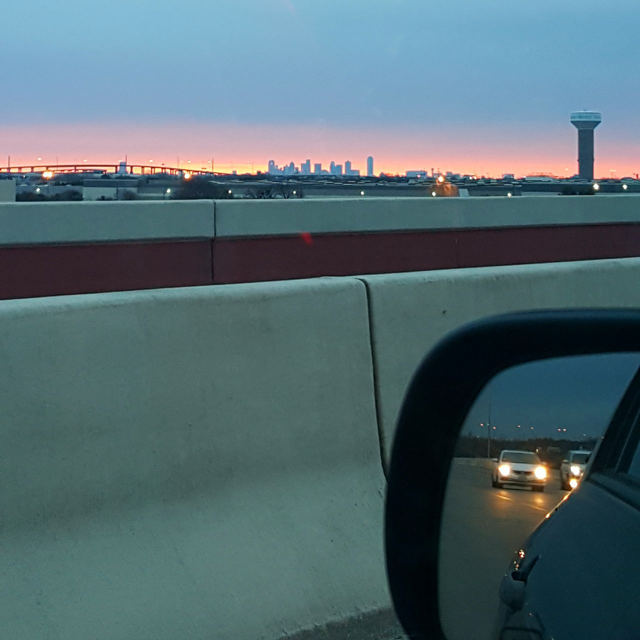 The view from this morning's drive ♡ Dallasskyline Sunrise Frommypointofview ItsAllAboutTheAngles WorkTheAngle Reflections Dallas Texas ComeExploreWithMe