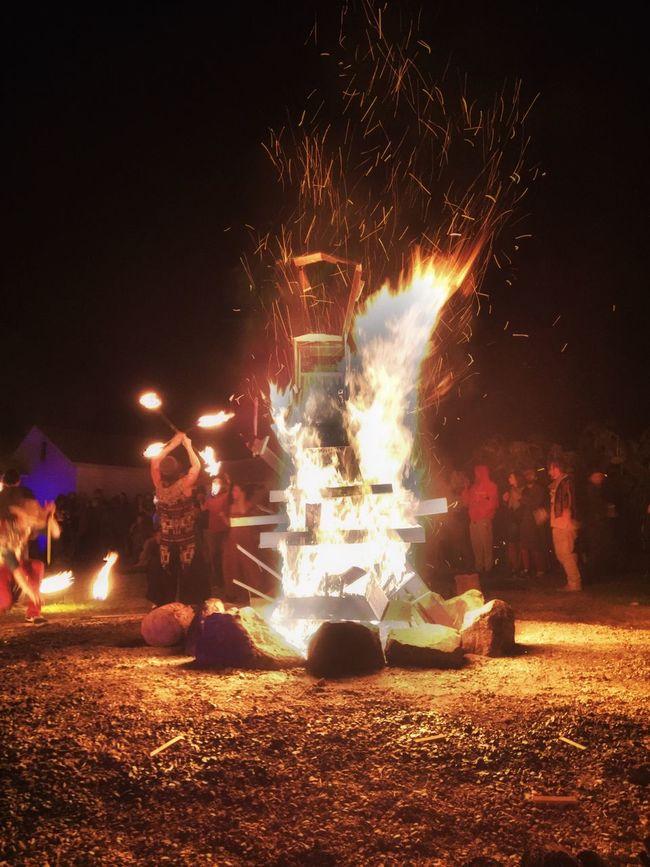Celebration Glowing Bonfire Illuminated Night Flame Burning Outdoors HDR Vibrant Color