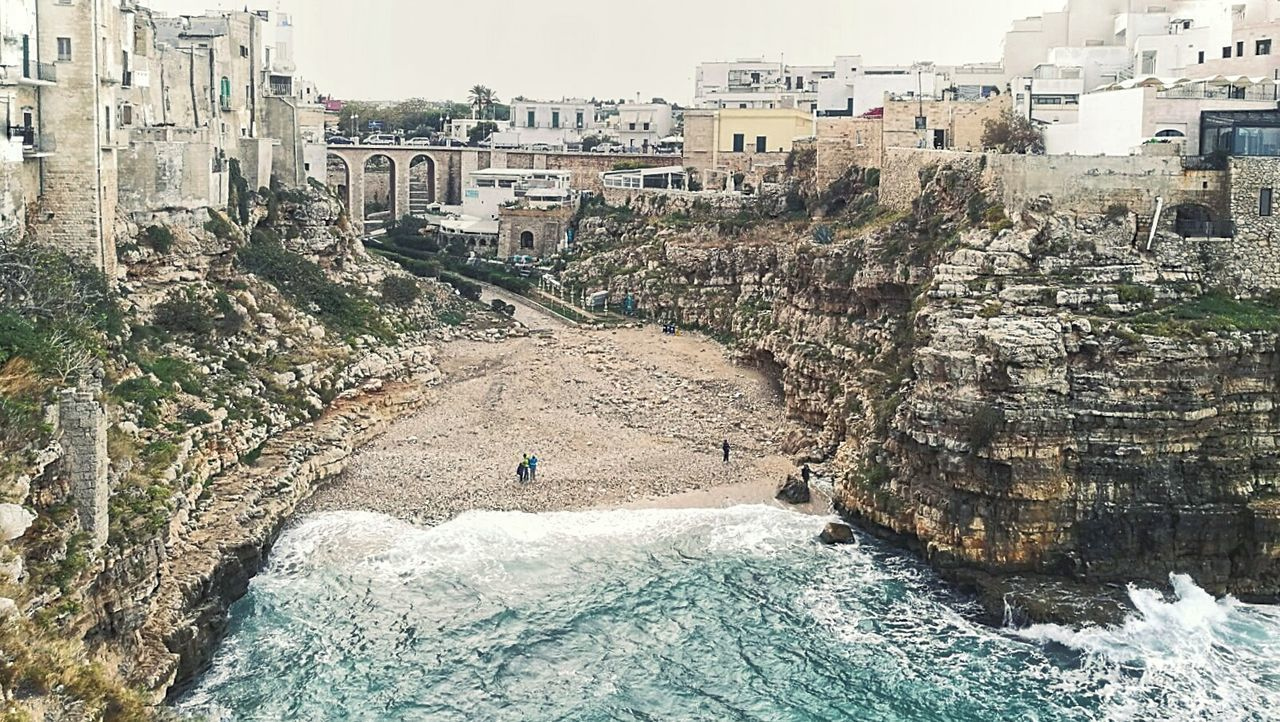Brindisi Apulia Italy Italia Puglia Spiaggetta Town and Nature Architecture Building Exterior Day Outdoors City Built Structure Cliff Insenatura Beach Rocky Rocky Coasts Android Photography Smartphone Photography Sea Cloudy Day