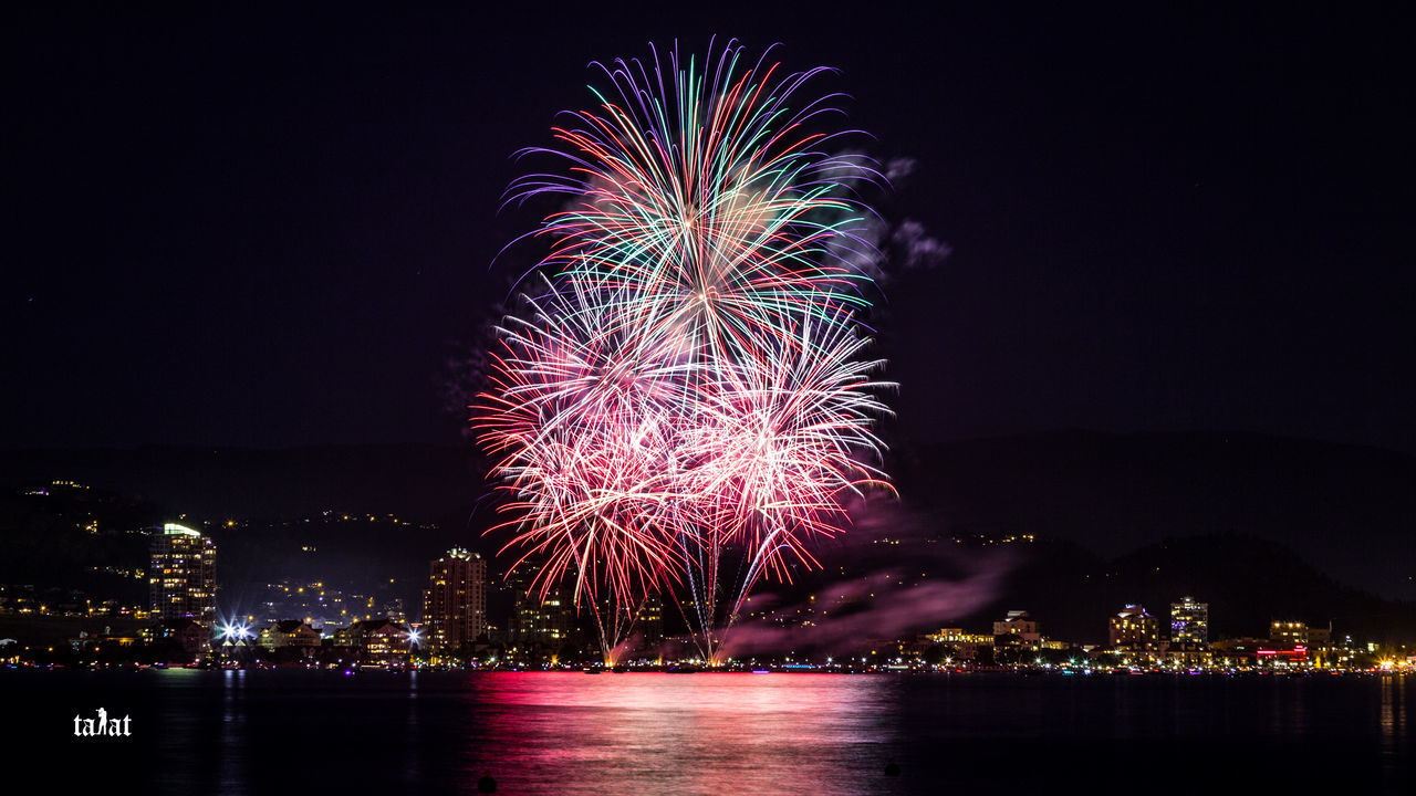Man made illuminations Canada Day Celebration Celebration Event City Cityscape Firework Firework - Man Made Object Firework Display Fireworks Glowing Illuminated July 1st Kelowna Light Long Exposure Multi Colored Night Outdoors Sky Sparks Travel BC Travel Photography First Eyeem Photo