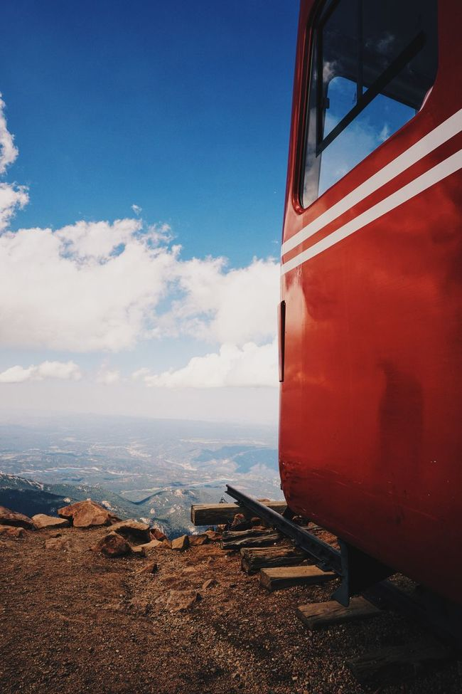 Cliff Dead End Mountain Outdoors Rail Red&blue Scenics Sky And Clouds Train View From Above The Great Outdoors With Adobe The Great Outdoors - 2016 EyeEm Awards