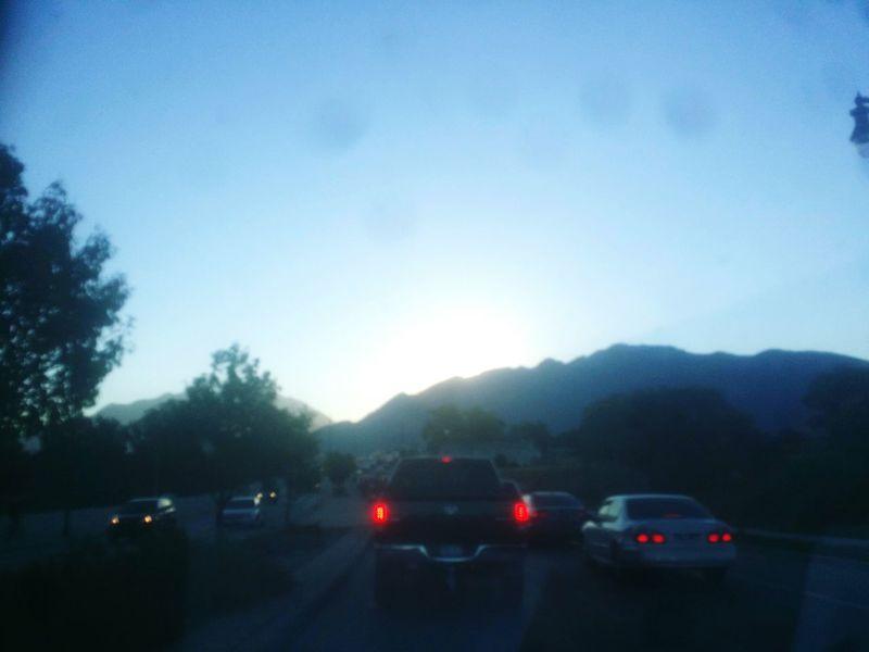 Transportation Mountain Clear Sky Dawn Morning Sky Sunrise Traffic Mountain Range