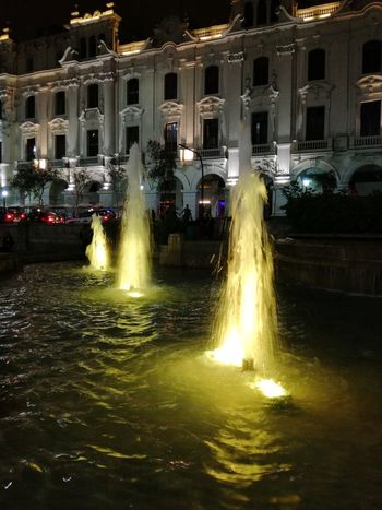 Paint The Town Yellow Night Water Illuminated Spraying Motion Architecture Outdoors No People Sky Amazing View Creative Artistic Scenics Landscape Lights Light Effect Water Reflections Nightphotography Nightlights Inspired By Beauty Moments Beautiful Fragility Amazing