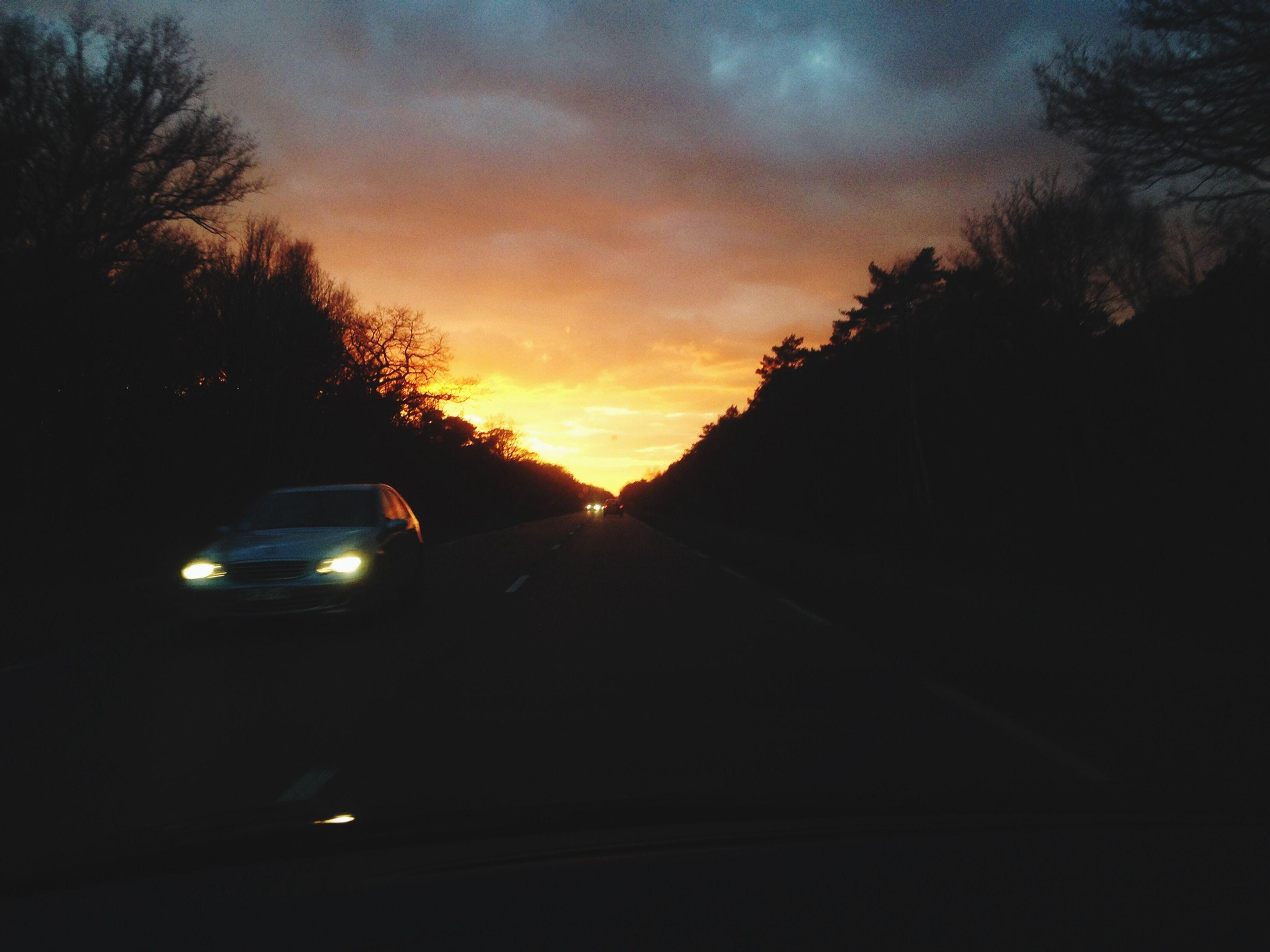 transportation, sunset, car, land vehicle, road, mode of transport, tree, sky, the way forward, silhouette, orange color, diminishing perspective, windshield, cloud - sky, road marking, street, travel, vanishing point, on the move, no people