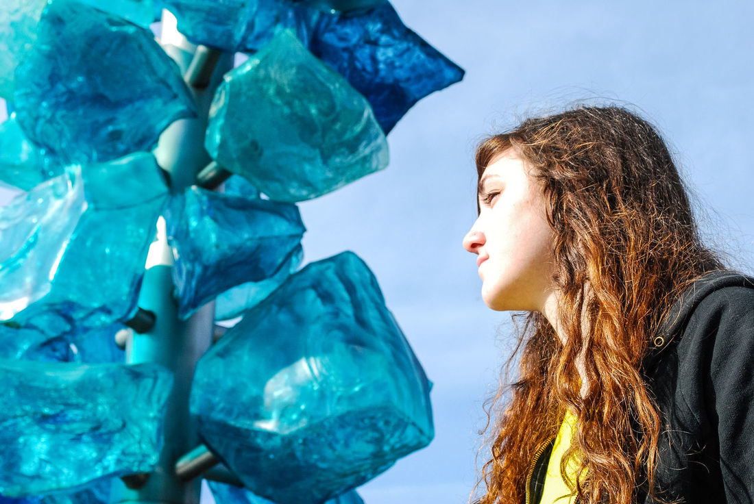 Museum of Glass Blue Rock Candy Architecture Art Blue Casual Clothing Close-up Dale Chihuly Day Enjoyment Focus On Foreground Glass Art Headshot Leisure Activity Lifestyles Long Hair Museum Of Glass Nature Outdoors Portrait Sky Tacoma