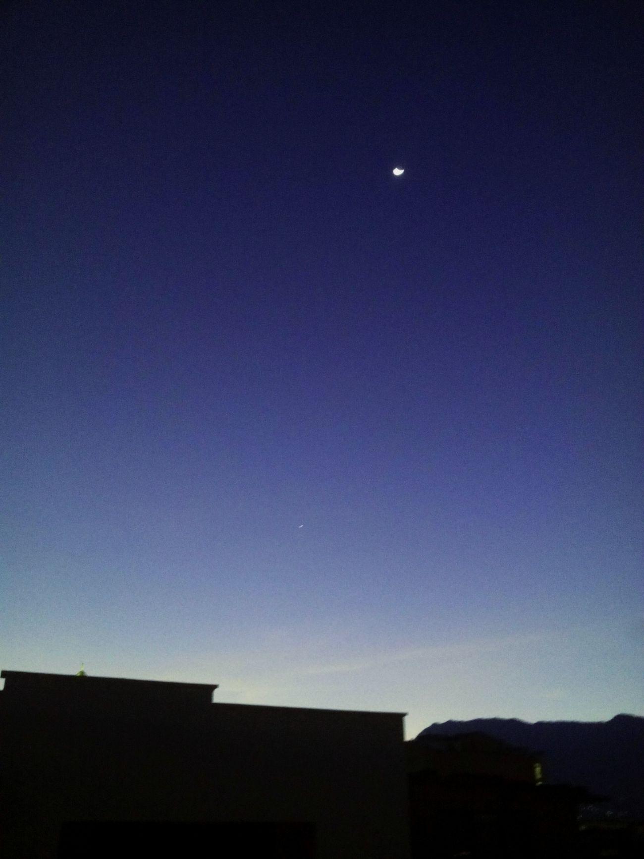 Sunset Moon Venus Sky