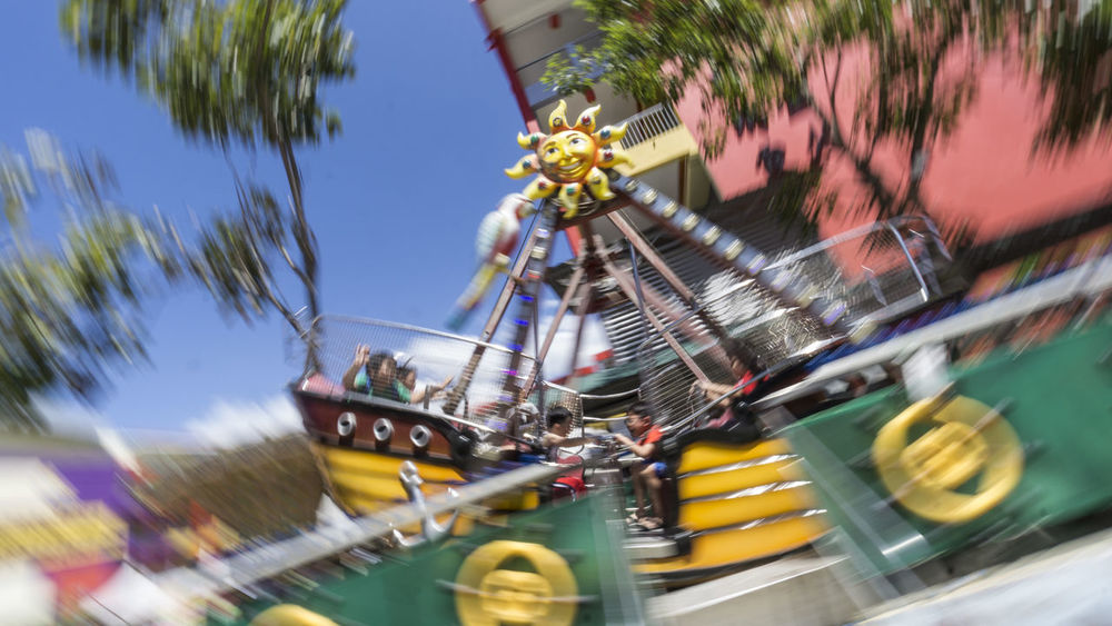 Fun fair Panning Panningphotography Funfair Funfair Streetphotography EyEmselect EyeEm Selects Amusement Park Amusement Park Ride Arts Culture And Entertainment Water Palm Tree Blurred Motion Building Exterior Outdoors Architecture Ferris Wheel Built Structure No People Water Slide Fish-eye Lens Sky Tree Carousel Day