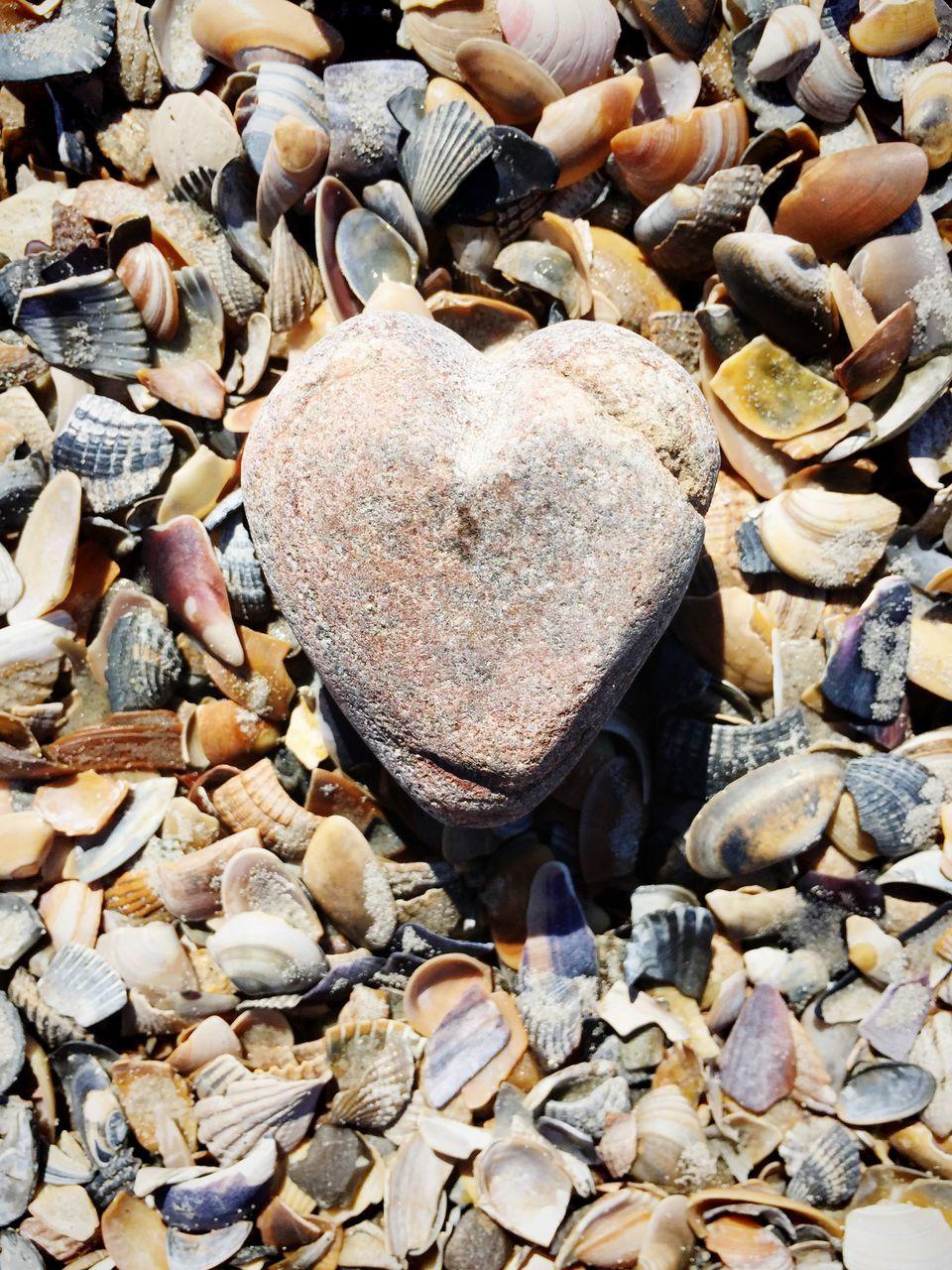 Stone Heart On Background Of Seashells
