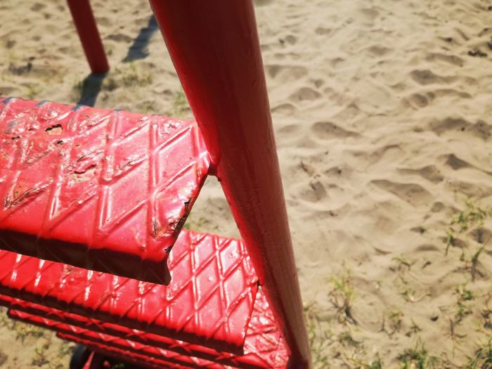 Sand Red Beach Day No People Outdoors Nature Stairs Red Stairs Summer Playground Playground Equipment Umpire Place Sand Playground Play Volleyball Leisure Activity Sport Ladder