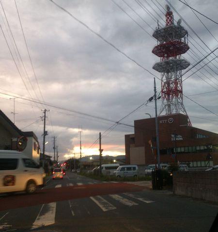 鉄塔 夕陽 南相馬