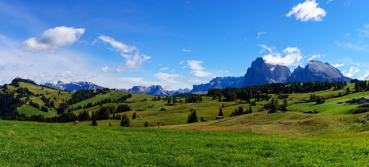 Panorama image of the Seiser Alm or Alpe di Siusi, a high altitude alpine meadow in the Dolomites with Langkofel and Plattkofel mountains under a layer of snow in winter in South Tyrol, Italy. Dolomites, Italy Langkofel Panorama Plattkofel Beauty In Nature Blue Cloud - Sky Day Grass Green Color Italy Landscape Mountain Mountain Range Nature No People Outdoors Scenics Seiseralm Sky South Tyrol Tranquil Scene Tranquility