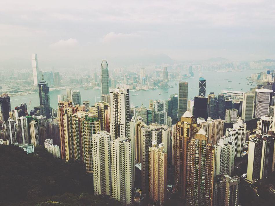 City Hong Kong Night Lights Victoria Peak, Hongkong