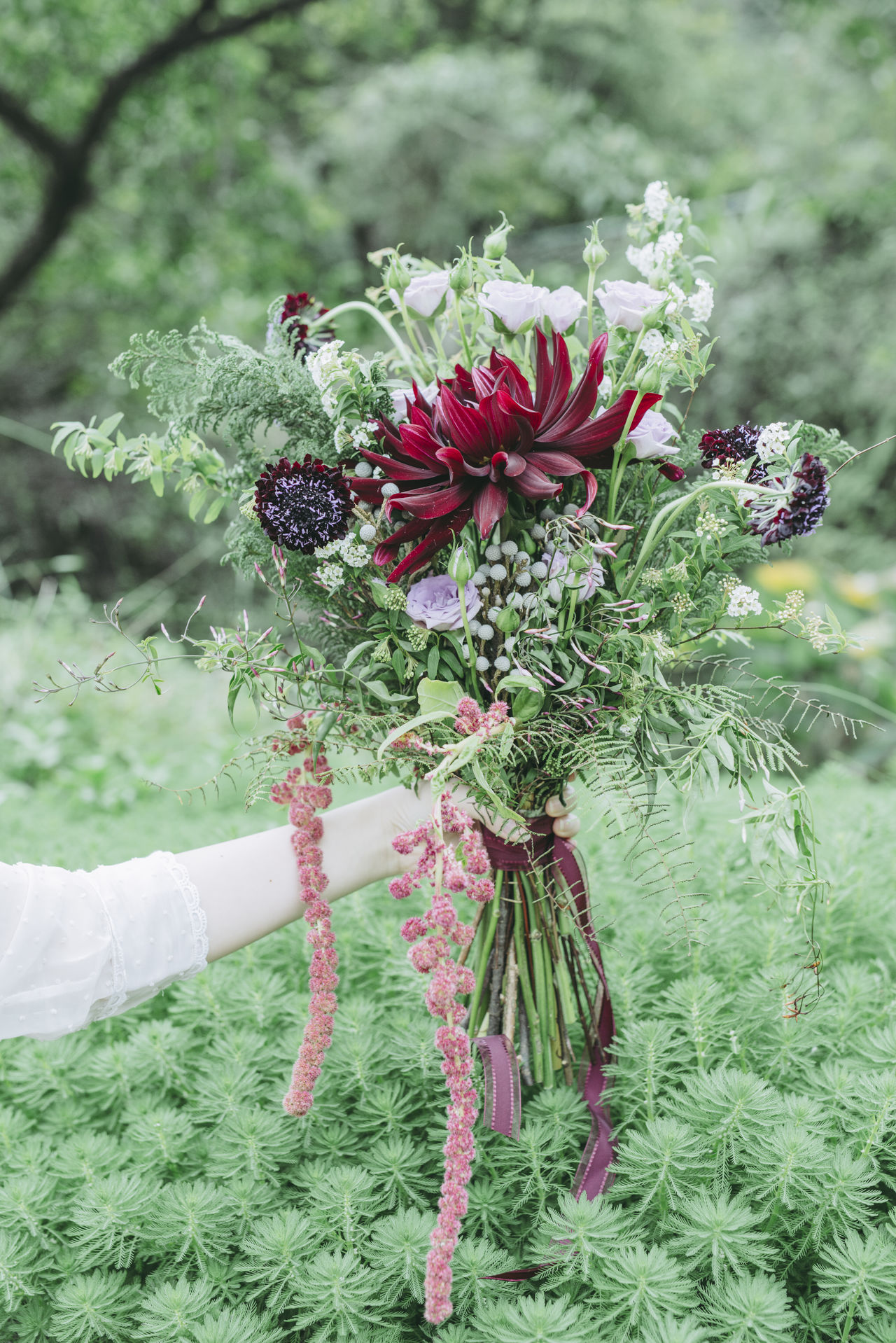 Adult Adults Only Bouquet Close-up Day Flower Flower Head Focus On Foreground Freshness Green Color Holding Human Body Part Human Hand Mid Adult Nature Old-fashioned One Person One Woman Only Only Women Outdoors People Red