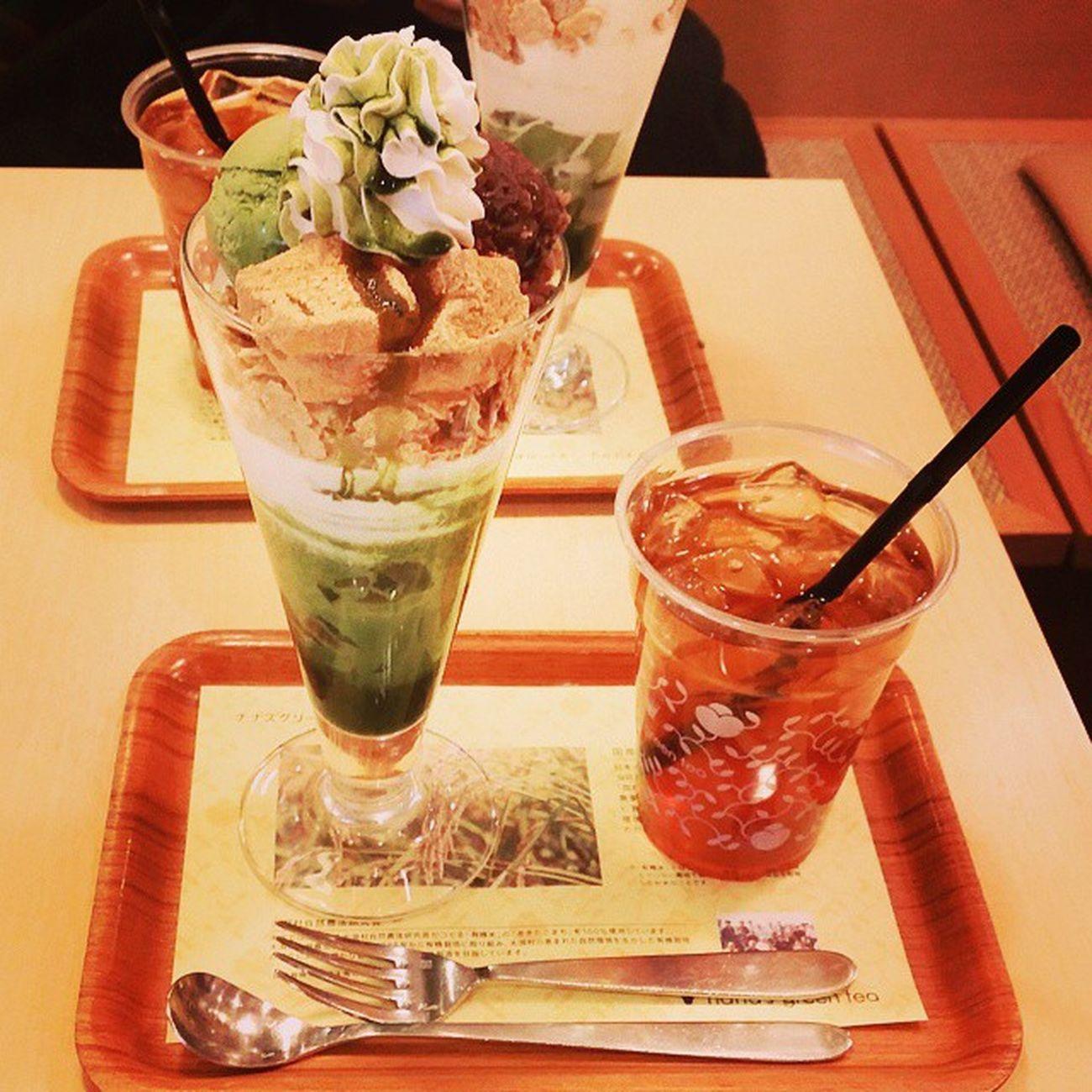 涼子とでーと👯💓💓 町田 Nanasgreentea 抹茶 わらび餅 Greentea Like Sweets Enjoying A Meal