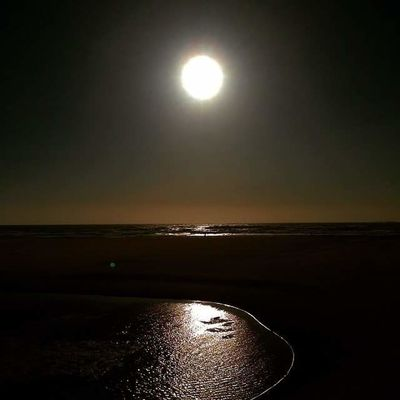 Astronomy Beauty In Nature Close-up Horizon Over Water Illuminated Moon Nature No People Outdoors Reflection Scenics Sea Sky Sun Sunset Tranquility Water
